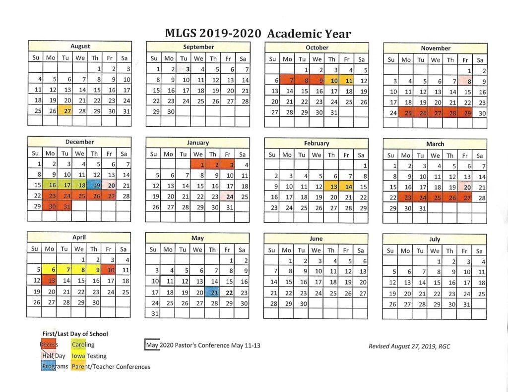 2019-2020 School Calendar